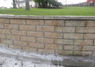 Contrast between cleaned part of wall and area that is soiled