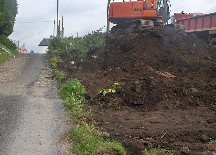 Excavation of roadside to remove Knotweed infestation