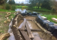 Work in progress of the dry stone wall's construction